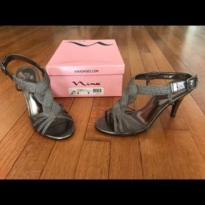 Metallic Grey Dress Sandals by Nina Shoes size 8